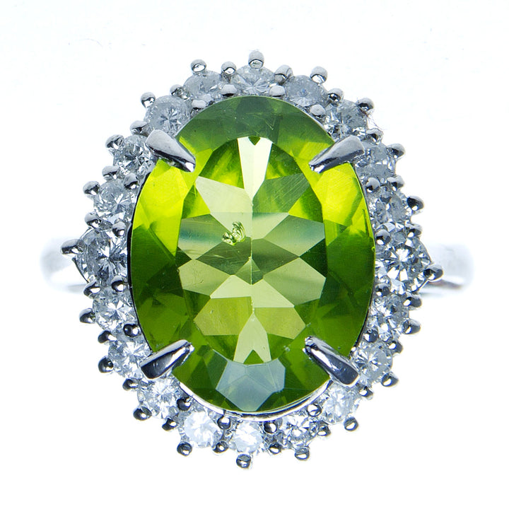 Platinum 6.02ct Peridot & Diamond Ring