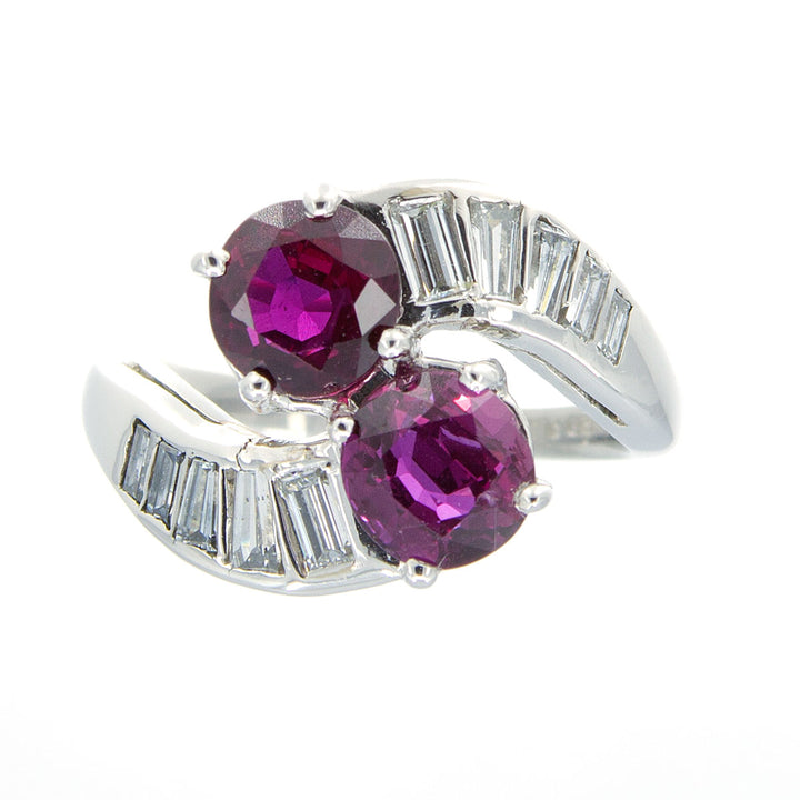 Platinum Purple Sapphire & Diamond Bypass Ring