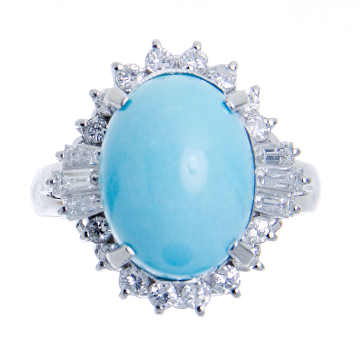 Platinum Turquoise & Diamond Ring