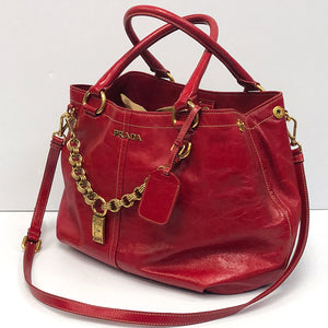 Prada Rosso Vitello Shine Shopping Bag BN1777 - Chicago Pawners & Jewelers
