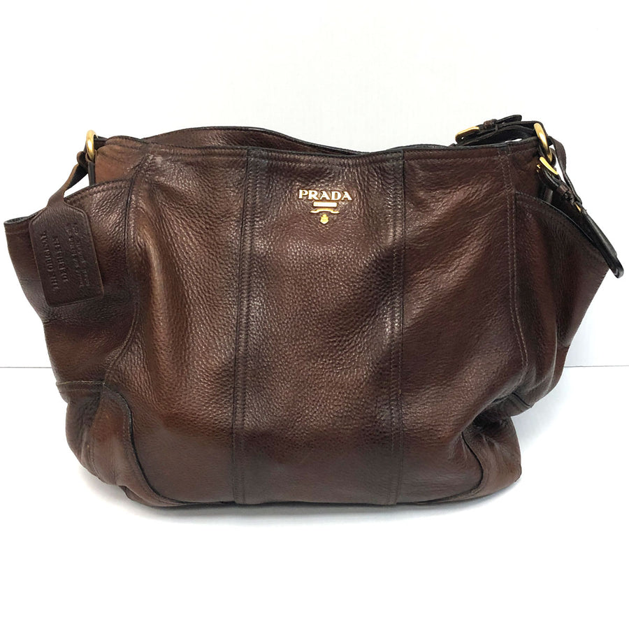 Prada Cervo Antik Hobo Deerskin Shoulder Bag
