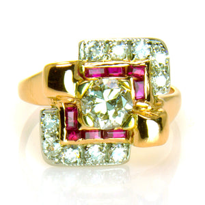 1940s Retro Diamond & Ruby Ring - Chicago Pawners & Jewelers