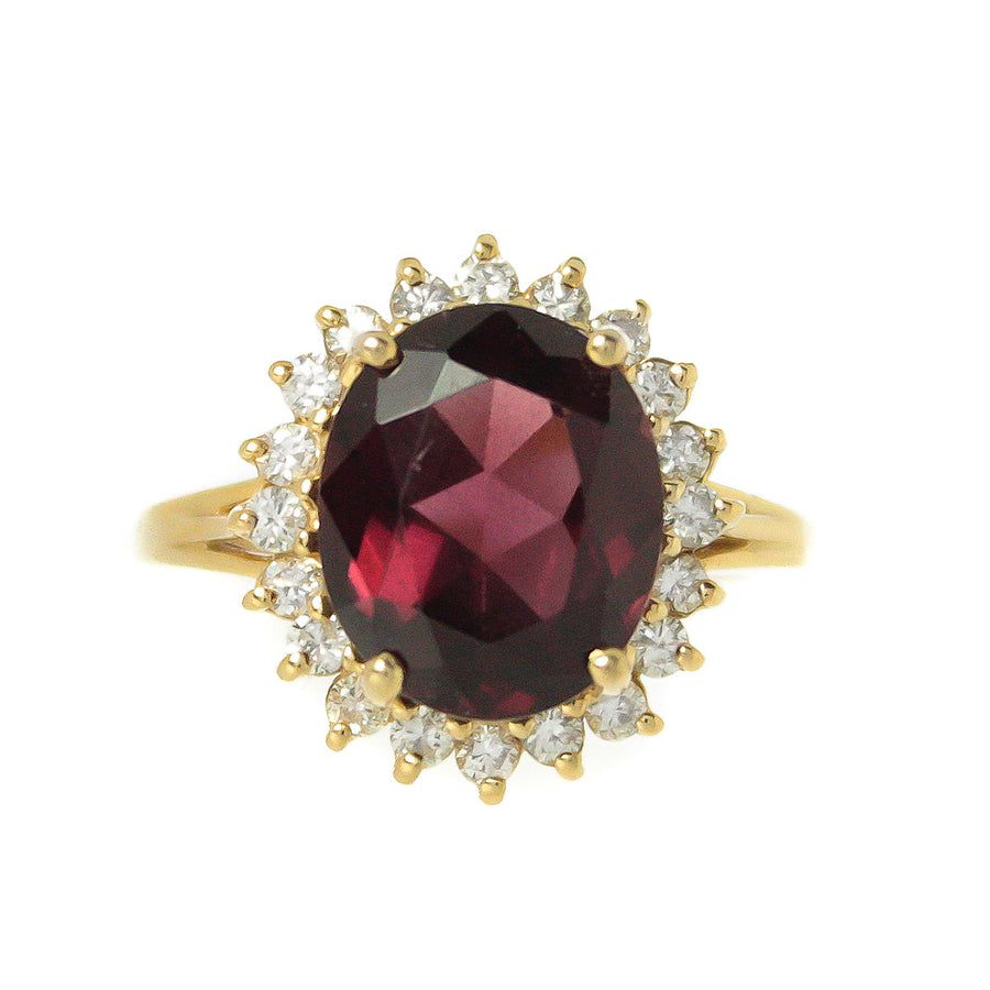 4.35ct Rhodolite Garnet & Diamond Cocktail Ring - Chicago Pawners & Jewelers