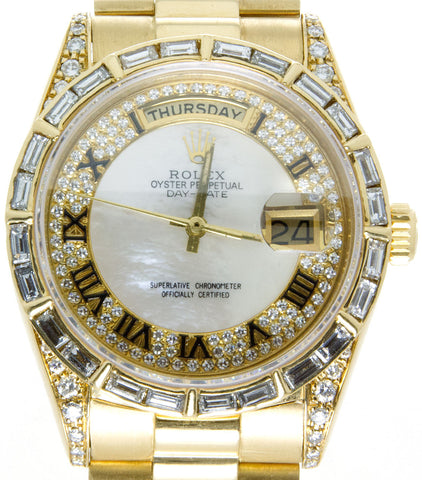 Rolex Day-Date President with Baguette Diamond Dial Bezel