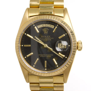 Rolex Day-Date President with Black Tapestry Dial - Chicago Pawners & Jewelers