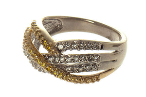 Yellow Diamond Crossover Band Ring