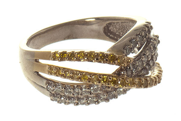 Yellow Diamond Crossover Band Ring - Chicago Pawners & Jewelers