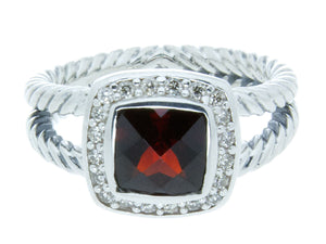 David Yurman Petite Albion Garnet & Diamond Ring - Chicago Pawners & Jewelers