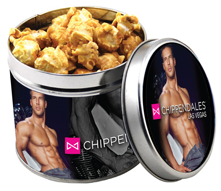 Chippendales Caramel Popcorn Holiday Tin