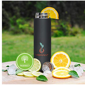 Vibrant All in ONE Travel Mug - Tea Infuser Bottle with 2 Piece Steeper Strainer MESH Filter - Sunshine & Some Tea