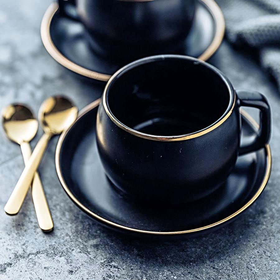 Black Ceramic Tea/Coffee Cup and Saucer W/ Gold Trimming - Sunshine & Some Tea