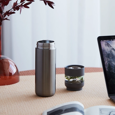 【Use code:MEMORIAL28, Buy 2 Get 20% off】Insulated Tea Infuser Thermos Bottle 15.22oz (Champagne/Black/White/Green)