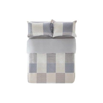 "100% Brushed Cotton with Nordic Style Print 4-Piece Bedding Set - Queen/King Home & kitchen LIFEASE Plaid Queen (Fit comforter: 78.7""x91"")"