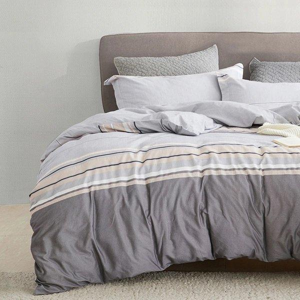 "100% Brushed Cotton with Nordic Style Print 4-Piece Bedding Set - Queen/King Home & kitchen LIFEASE Stripe Queen (Fit comforter: 78.7""x91"")"