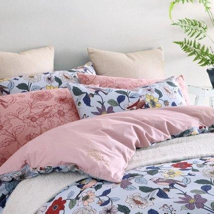 100% Cotton Knit Printed 4-Piece Bedding Set Home & kitchen LIFEASE