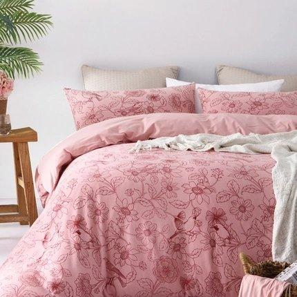 "100% Cotton Knit Printed 4-Piece Bedding Set Home & kitchen LIFEASE Pink King (Fit comforter: 87""x94.4"")"