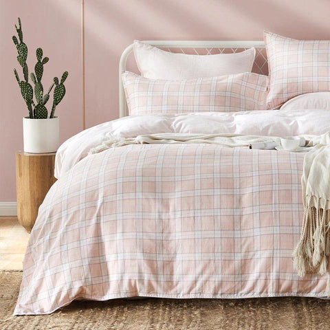 100% Cotton Yarn Check Four-Piece Bedding Set Home & kitchen LIFEASE
