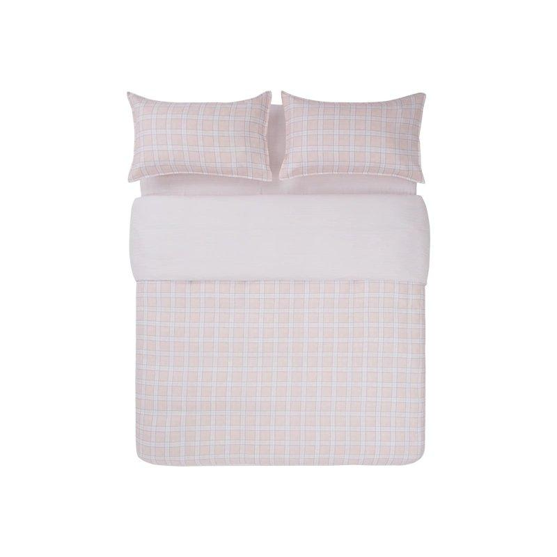 "100% Cotton Yarn Check Four-Piece Bedding Set Home & kitchen LIFEASE Pink King (Fit comforter: 87""x94.4"")"