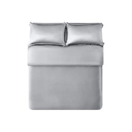 "100% Silk Quilt Mulberry silk 4-Piece Bedding Set- Queen/King Size Home & kitchen LIFEASE Grey Queen (Fit comforter: 78.7""x91"")"