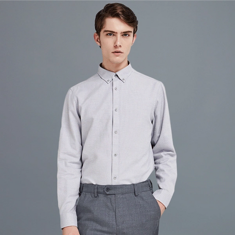 Men's Long-Sleeve Solid Fannel Shirt