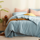 Japanese Style Solid Color 100% Washed Cotton 4-Piece Bedding Set - Large Twin/Full; Full/Queen