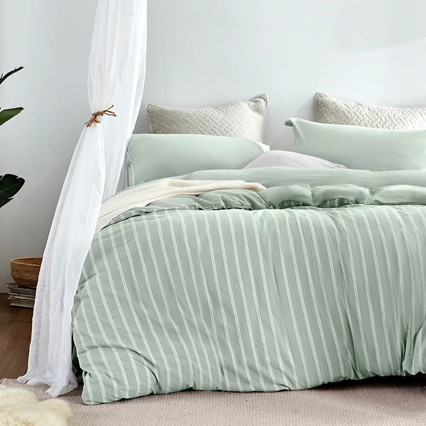 4-Piece Washed Cotton Jacquard Vertical Stripe Bedding Set