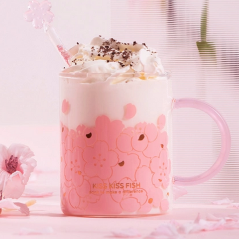 【Use code:MEMORIAL28, Buy 2 Get 20% off】Classic Sakura Pattern Glass Mug/Tumbler