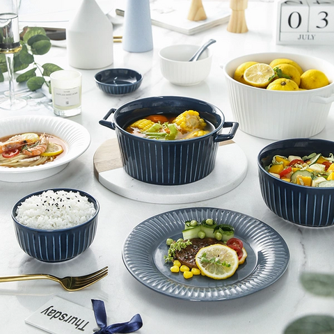 Nordic Style Relief Striped Dinnerware Set