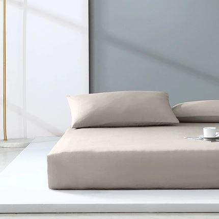 "300-Thread-Count 100% Cotton Washed Cotton Satin Bedding Cover Set - Full/Queen/King Size Home & kitchen LIFEASE Light Brown Queen (59""x78.7"")"