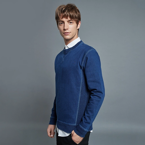 Men's Faux Denim Knit Sweatshirt