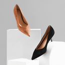 Women's Sheep Suede Heels with Pointed Toe
