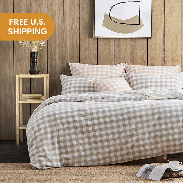 4-Piece Plaid Cotton Bed Set with Duvet Cover - Queen/King - Fitted/Flat Home & kitchen LIFEASE