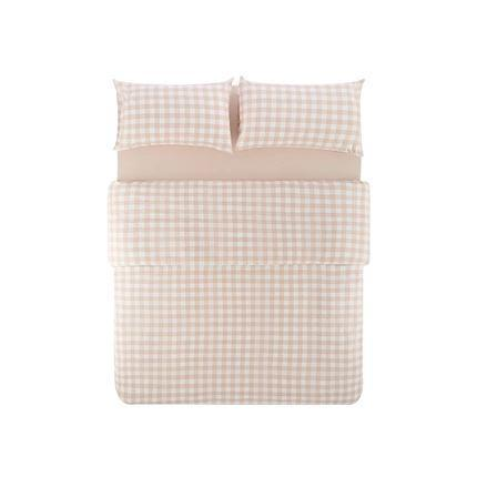 "4-Piece Plaid Cotton Bed Set with Duvet Cover - Queen/King - Fitted/Flat Home & kitchen LIFEASE Pink Large Plaid (flat sheet) Queen (Fit comforter: 78.7""x91"")"