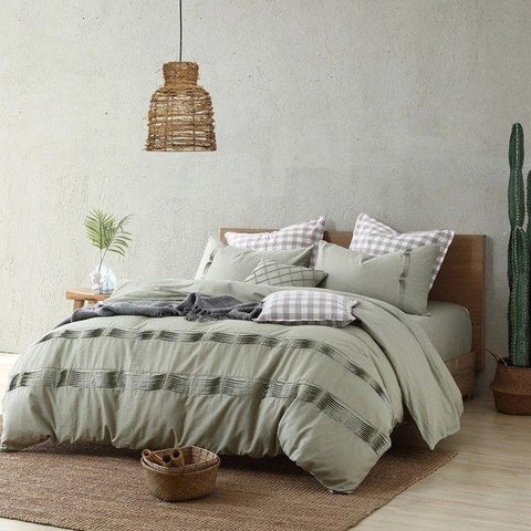 4-Piece Ruffle Style Cotton And Linen Mixed Bedding Set Home & kitchen LIFEASE