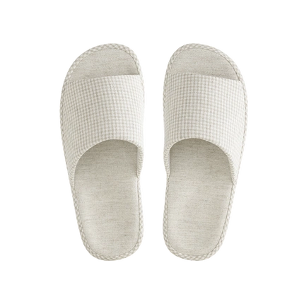 Japanese-Style Open Toe Home Slippers w/ Mini-Checkered Pattern, Natural Cotton & Linen, EVA Sole [Minimum 3-Pair Per Order]