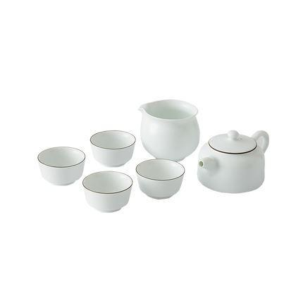 6 piece Opaque White Jade Tea Set Home & kitchen LIFEASE 1* pot; 1* fair cup; 4* cup
