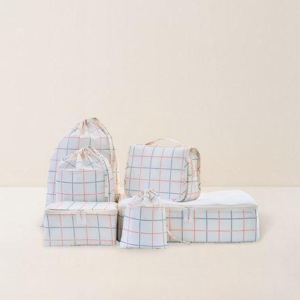 6 Piece Plaid Print Storage Bag Set Sports & Travel LIFEASE