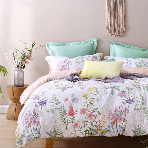 60s Cotton Floral Print 4-Piece Bedding Set Home & kitchen LIFEASE