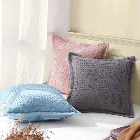 100% Cotton Decorative Pillow with Waffle-Texture
