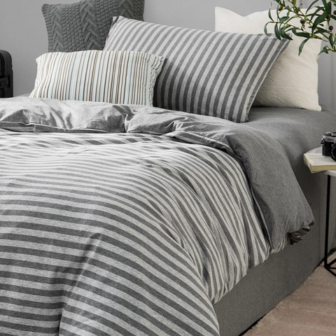 "100% Cotton Knitted 3-Piece Striped Bedding Set with Duvet Cover For One Person 59.1""x78.74"""