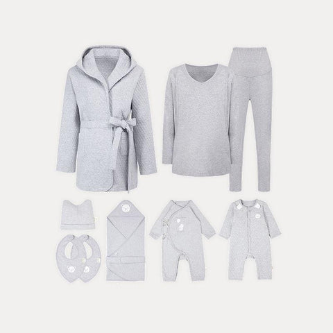 9-Piece Elegant Gray Newborn Baby & Novice Mommy Clothes Gift Baby Care LIFEASE os Gray