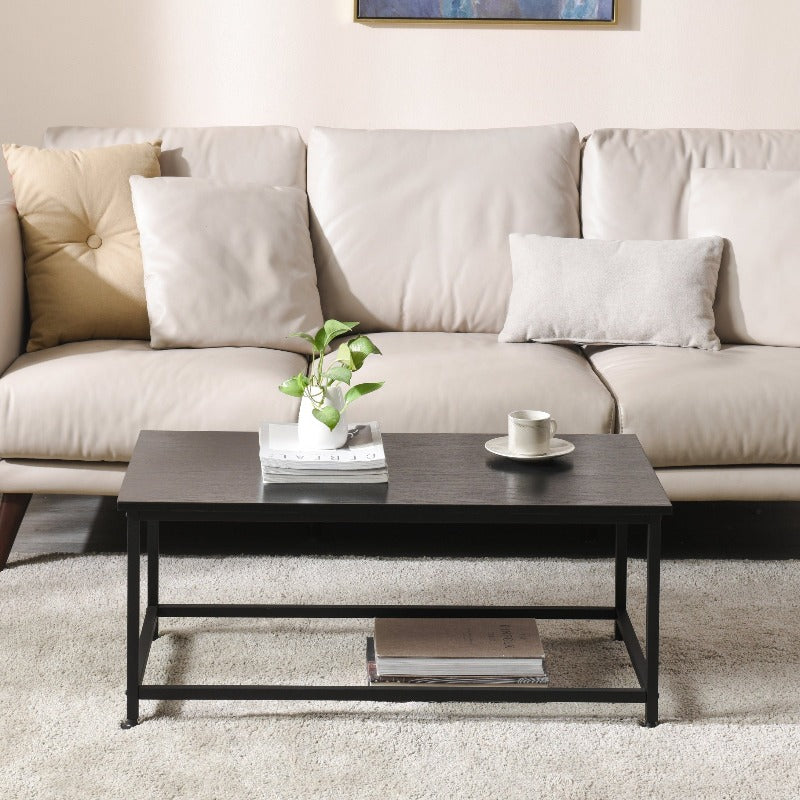 Coffee Table with Heavy Duty Open Steel Frame