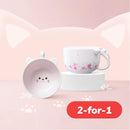 Cat Shape with Sakura Pattern Mug