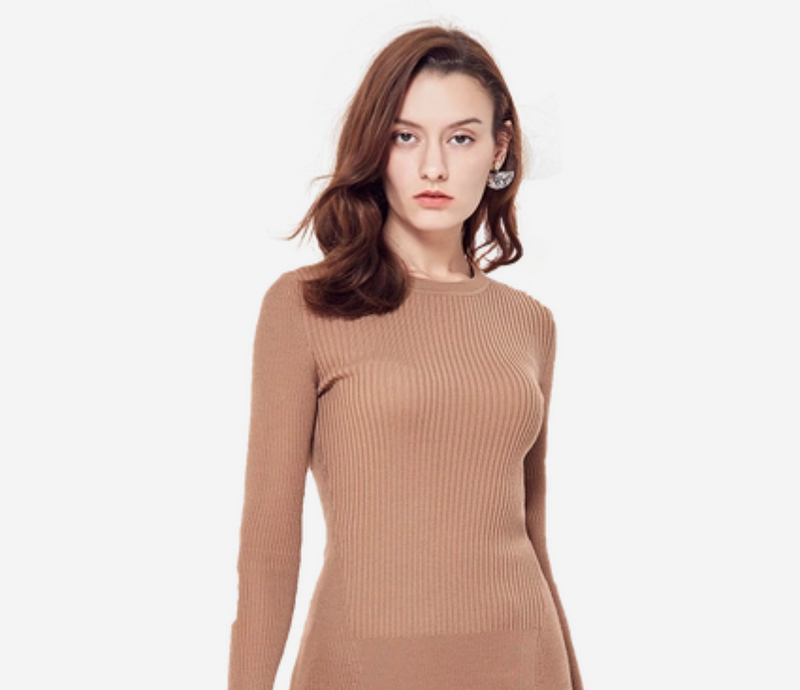 Women's Machine Washable Round Neck Wool  Sweater