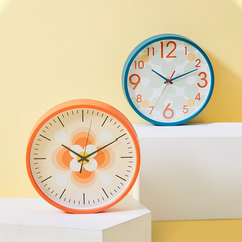 Nordic Style Minimalist Wall Clock - Orange/Blue