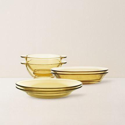 Amber Glass Dinnerware Set of 6 Home & kitchen LIFEASE