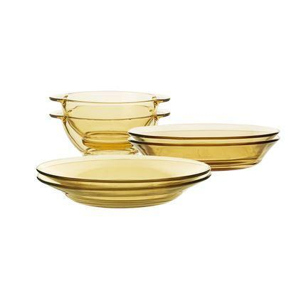 Amber Glass Dinnerware Set of 6 Home & kitchen LIFEASE Set of 6 (bowl*2+deep plate*2+shallow plate*2)