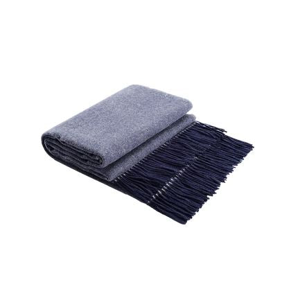 Australian Wool Double-Sided Patterned Blanket Home & kitchen LIFEASE Navy