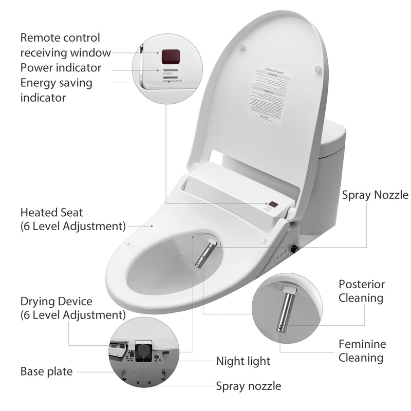 Bidet Toilet Seat with Self Cleaning Stainless Nozzle