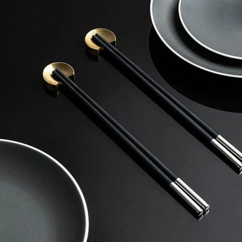 Black Matte with Stainless Steel Chopsticks Home & kitchen LIFEASE
